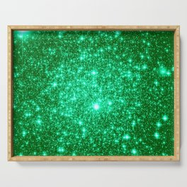 Emerald Green Glitter Stars Serving Tray