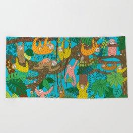 Happy Sloths Jungle Beach Towel