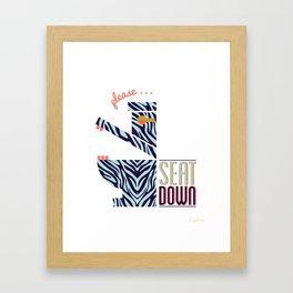 Zebra Says Seat Down! Framed Art Print