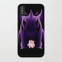 gengar iPhone & iPod Cases featuring Grim Gengar by JackiesGamingArt