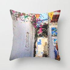 Tiffany Glass Style Greece Street Throw Pillow