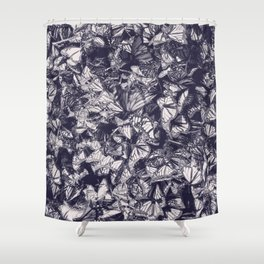 Indigo butterfly photograph duo tone blue and cream Shower Curtain