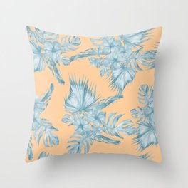 Ocean Blue Palm Leaves on Coral Apricot Throw Pillow