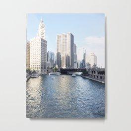Magic Hour Downtown, Chicago River Metal Print