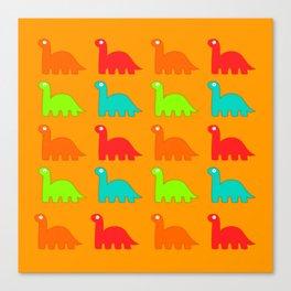 Cute Dino Pattern Walking Dinosaurs Canvas Print