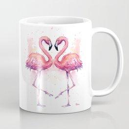 Flamingo Watercolor Two Flamingos in Love Coffee Mug
