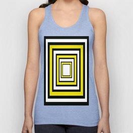 Concentric Squares  Black and Yellow Abstract Unisex Tank Top