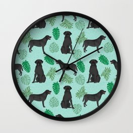 Black Lab summer monstera tropical pure breed dog gifts Wall Clock