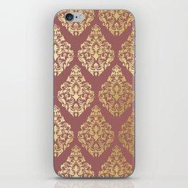 Burgundy rose gold elegant damasque iPhone Skin