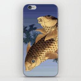 Hokusai – two carps -葛飾 北斎,engraving,carpa, fish. iPhone Skin