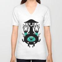 mushroom V-neck T-shirts featuring Mushroom by Quynh Chau