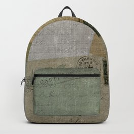 Vintage Postcards with Script Background Backpack