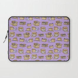Cats in Cardboard Boxes, on Lavender Laptop Sleeve