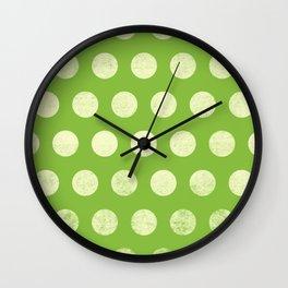 Polka Dots Mahogany Grain Green Wall Clock