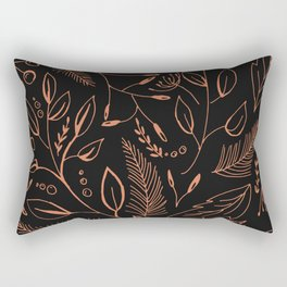 Holiday Pattern in black background and rose leaves Rectangular Pillow