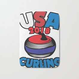 USA 2018 Curling American Curler Winter Sport Bath Mat