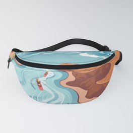 Blue river flowing through the high mountain and rafting people landscape Fanny Pack