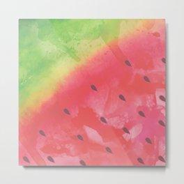 Refreshing Watercolor Watermelon Metal Print