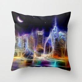 Starry Night New York City Throw Pillow