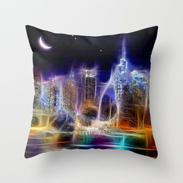 Starry Night New York City Throw Pillow