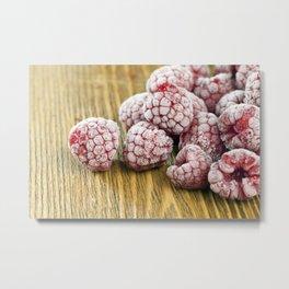 frozen crystal on raspberry Metal Print