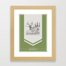 Lodge series - Deer (green) Framed Art Print