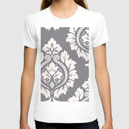 Decorative Damask Art I Cream on Grey T-shirt