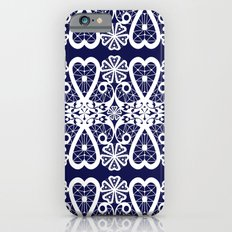 Retro . Lace blue white pattern . White lace on blue background . Slim Case iPhone 6s