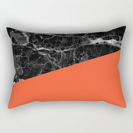 Black marble and flame color Rectangular Pillow