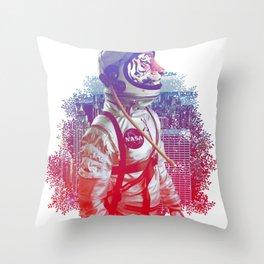 tiger astronaut Throw Pillow