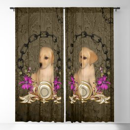 Little cute puppy with flowers Blackout Curtain
