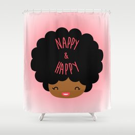 Nappy and Happy Afro Hair Shower Curtain