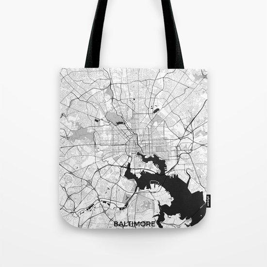 Baltimore Map Gray Tote Bag