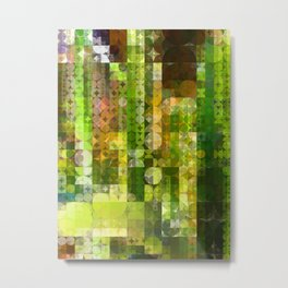 Cactus Garden Abstract Circle Sections 2 Metal Print