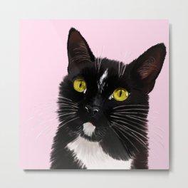 Black Cat in Pink Metal Print