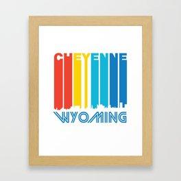 Retro 1970's Style Cheyenne Wyoming Skyline Framed Art Print