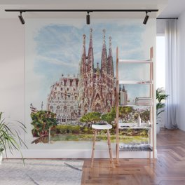 La Sagrada Familia watercolor Wall Mural