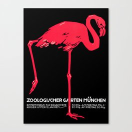 Vintage Pink flamingo Munich Zoo travel ad Canvas Print