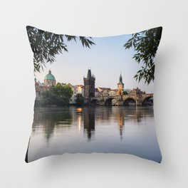 Mornings by the Charles Bridge Throw Pillow