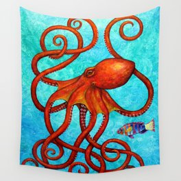 Distracted - Octopus and fish Wall Tapestry