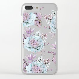 Turquoise and Violet Succulents Clear iPhone Case
