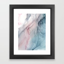 Calming Pastel Flow- Blush, grey and blue Framed Art Print