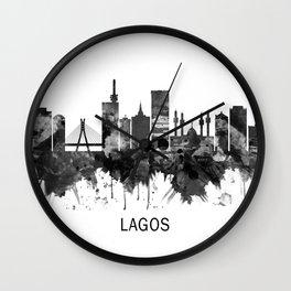 Lagos Nigeria Skyline BW Wall Clock