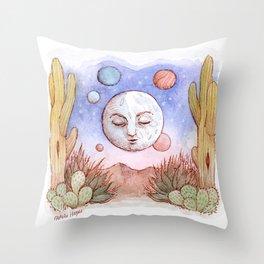 Desert Moon Watercolor Throw Pillow