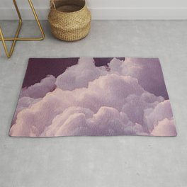 Abstract hand painted blush pink lilac watercolor clouds pattern Rug