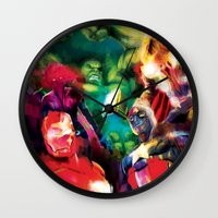 avenger Wall Clocks featuring Color Avenger! by Jesus De La Mora
