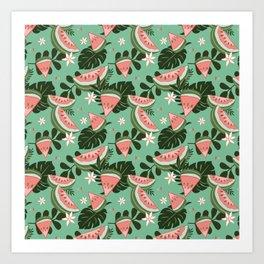 Watermelons on Green Art Print