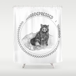 Depressed Weirdo Fox Shower Curtain