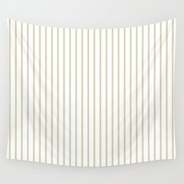 Spanish Moss Green Pinstripe on White Wall Tapestry