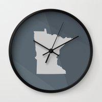 minnesota Wall Clocks featuring Minnesota State by Eric Heikkinen